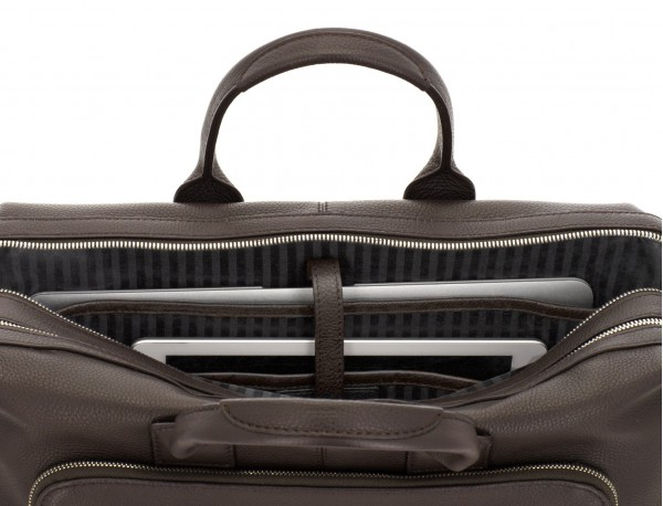 travel briefbag in leather brown laptop