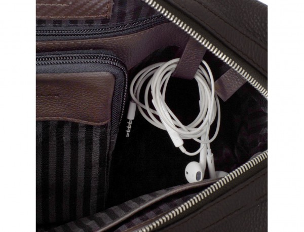 travel briefbag in leather brown cables