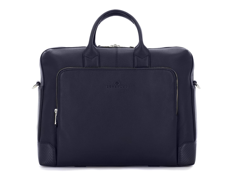 Cartella grande 2 scomparto in pelle per laptop in blu front