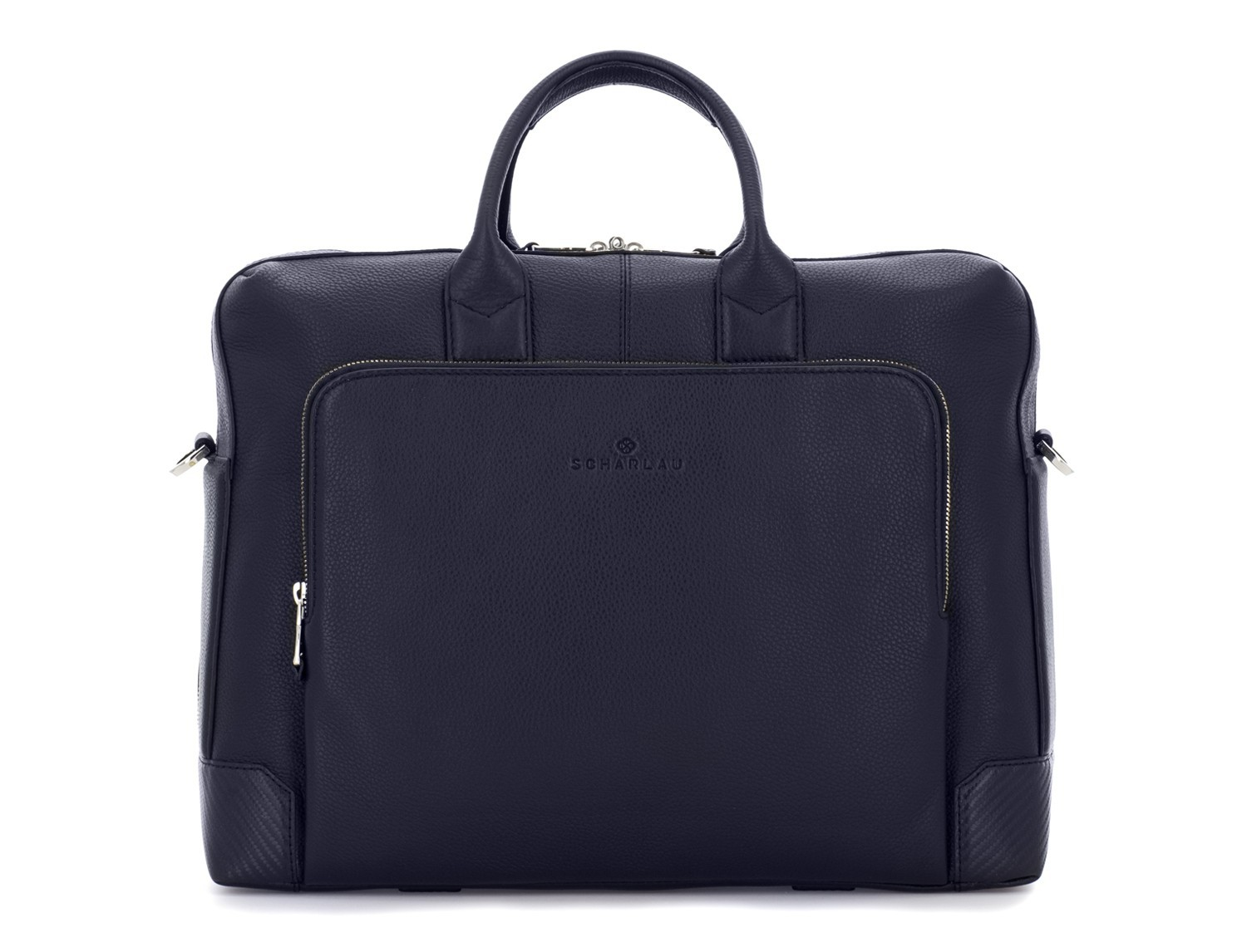travel briefbag in leather blue front