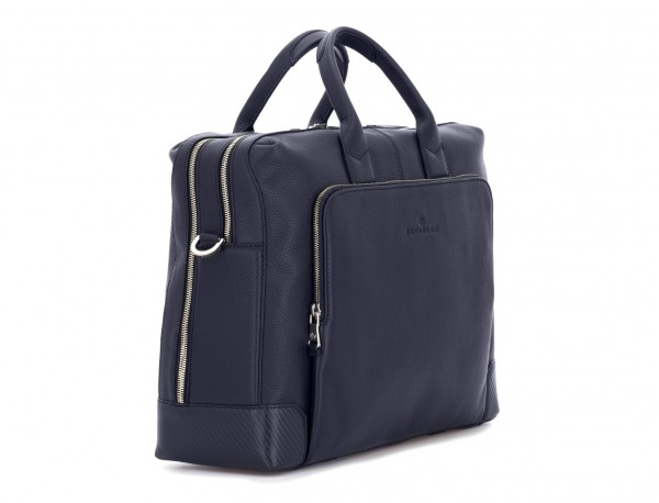 Cartella grande 2 scomparto in pelle per laptop in blu side