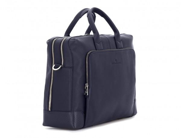 travel briefbag in leather blue side