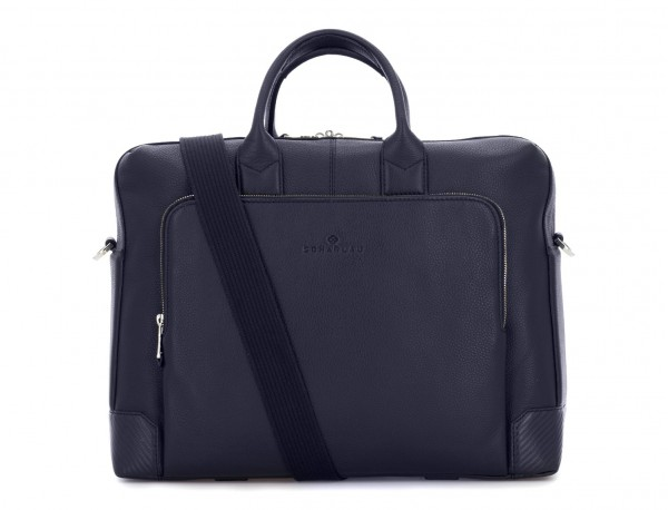 travel briefbag in leather blue strap
