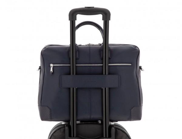 Cartella grande 2 scomparto in pelle per laptop in blu trolley