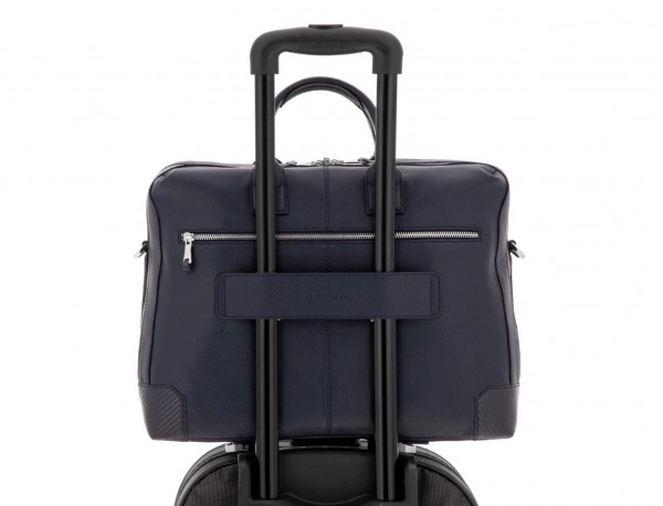 travel briefbag in leather blue trolley