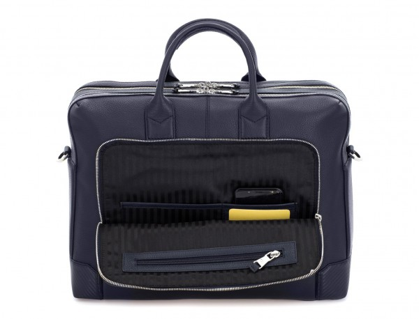 Cartella grande 2 scomparto in pelle per laptop in blu inside