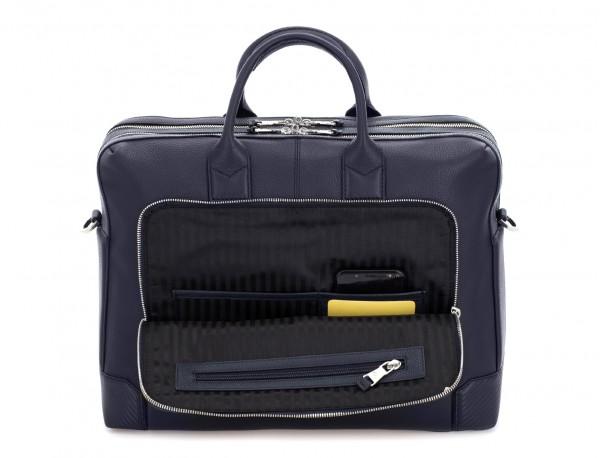 maletín de viaje de piel en color azul bolsillos