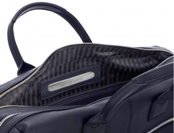 Cartella grande 2 scomparto in pelle per laptop in blu metal plate