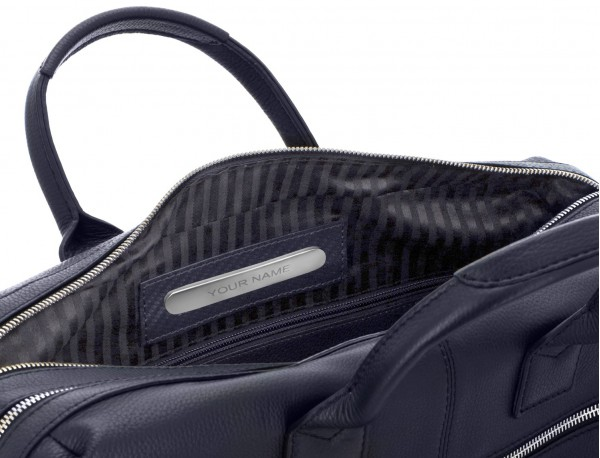 travel briefbag in leather blue personalized