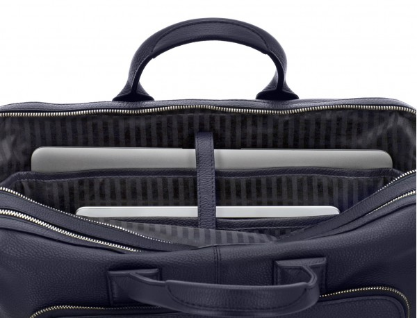 travel briefbag in leather blue laptop