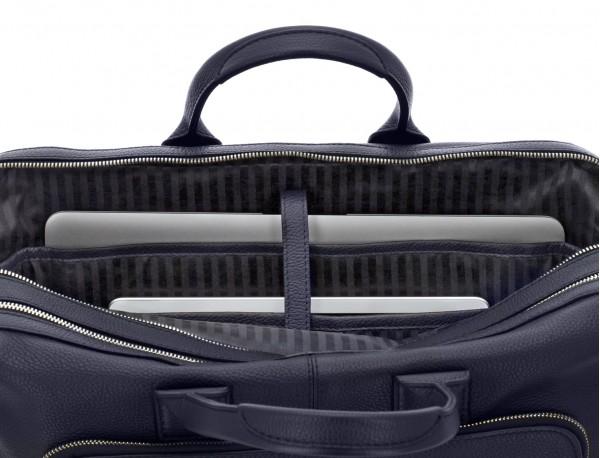 maletín de viaje de piel en color azul ordenador