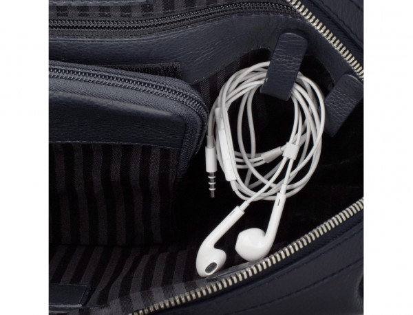 Cartella grande 2 scomparto in pelle per laptop in blu cables