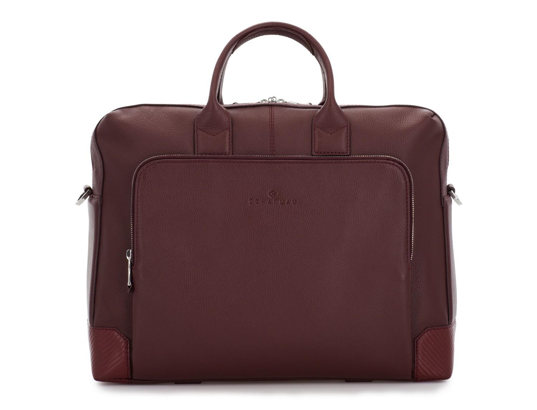travel briefbag in leather blue burgundy front