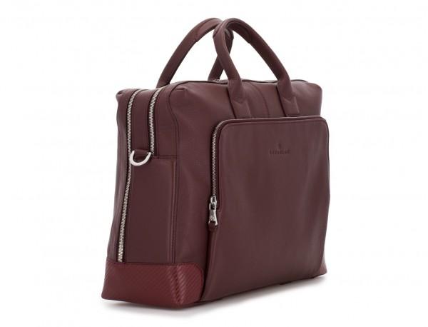 travel briefbag in leather blue burgundy side
