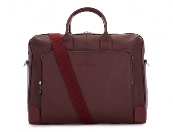 travel briefbag in leather blue burgundy strap