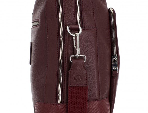 travel briefbag in leather blue burgundy lado