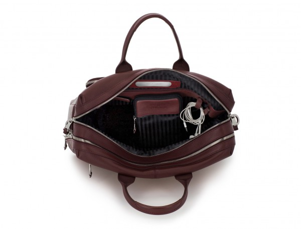 travel briefbag in leather blue burgundy open