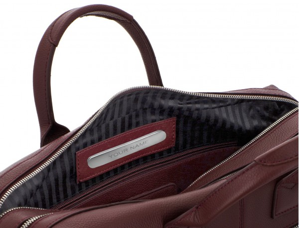 travel briefbag in leather blue burgundy personalized