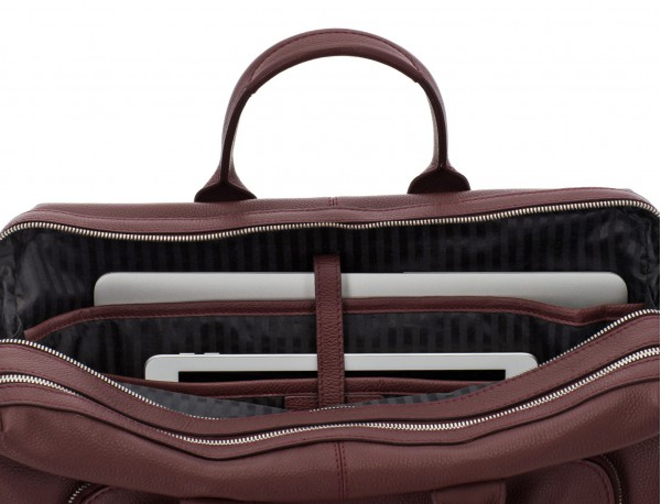 travel briefbag in leather blue burgundy laptop