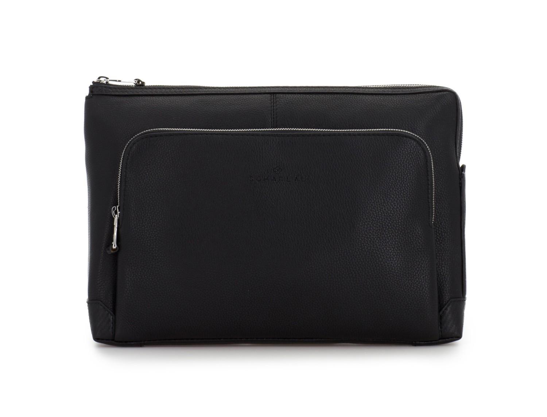 leather portfolio in black front
