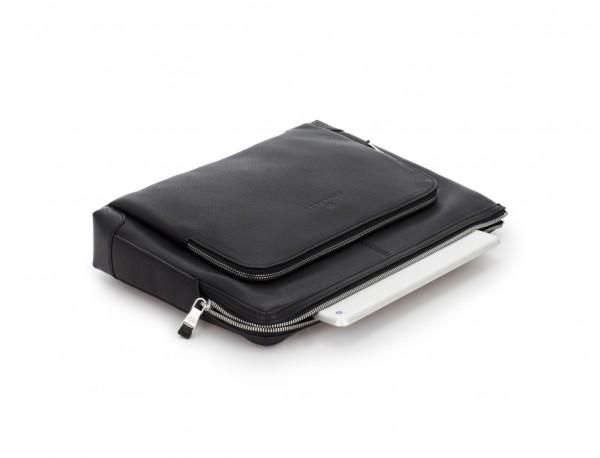 portadocumentos de piel con bandolera color negro laptop
