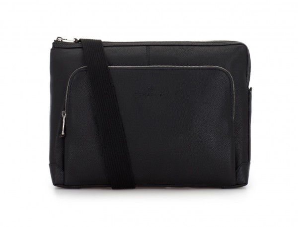 leather portfolio in black with strap
