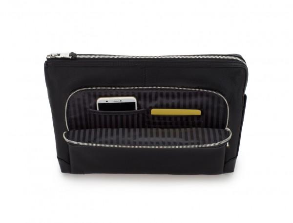 leather portfolio in black pockets