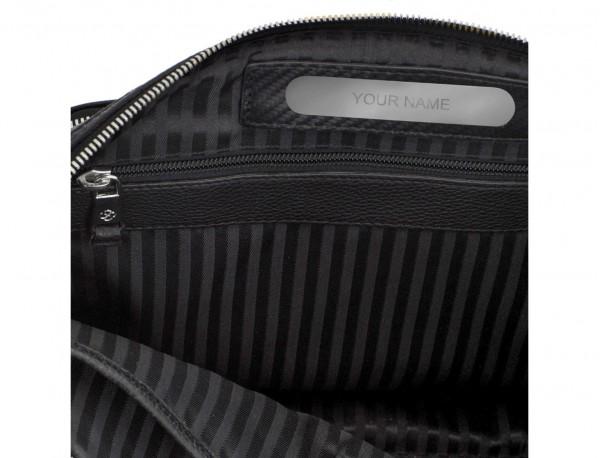 portadocumentos de piel con bandolera color negro plata personalizada