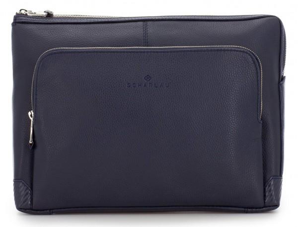 leather portfolio in blue front