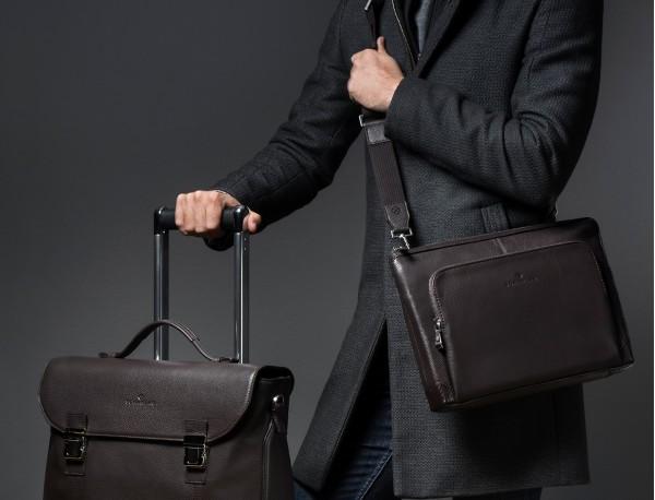 leather portfolio in blue lifestyle