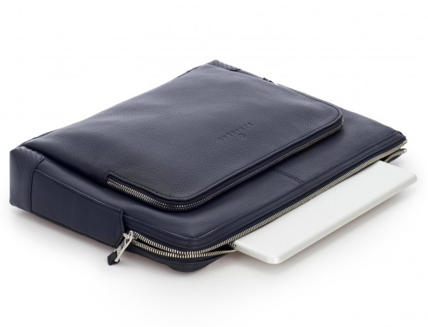 leather portfolio in blue up