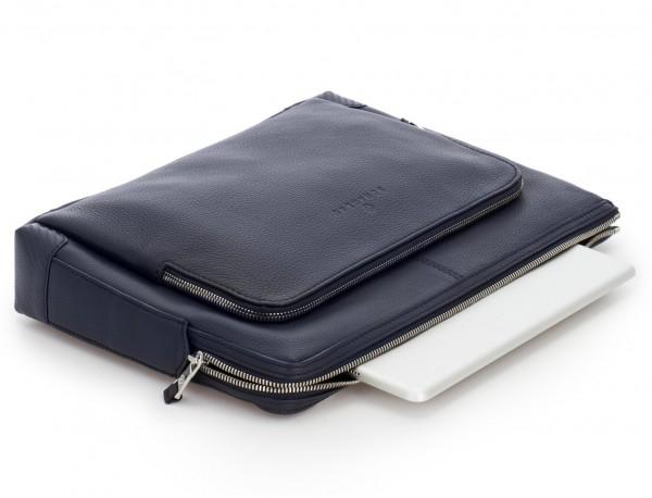 Portadocumenti in pelle blu laptop