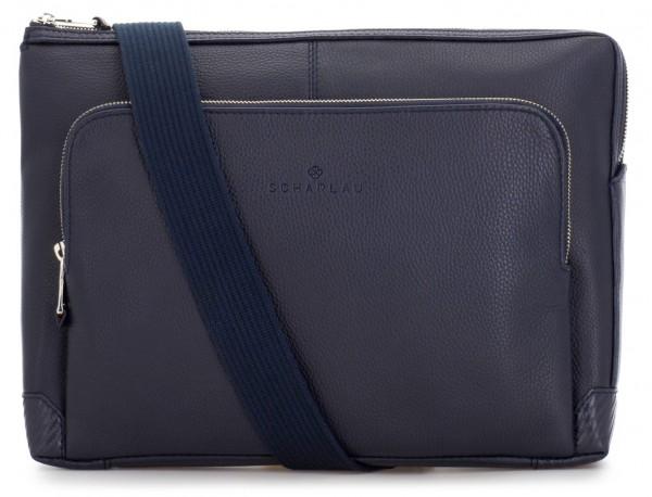 leather portfolio in blue strap