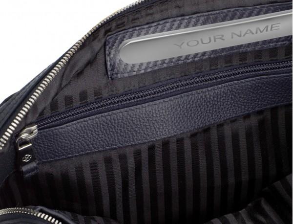 leather portfolio in blue personalized