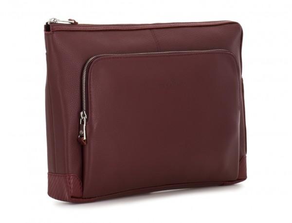 leather portfolio in burgundy side