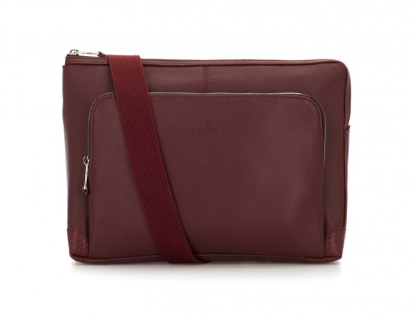 leather portfolio in burgundy strap