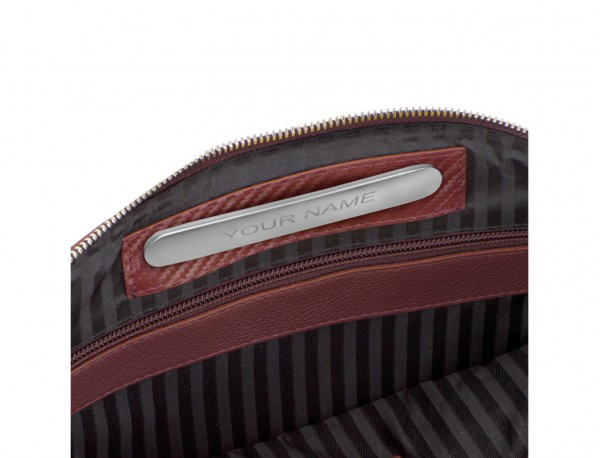 leather portfolio in burgundy personalized