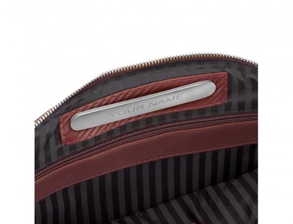 portadocumentos de piel con bandolera color burdeos personalizado