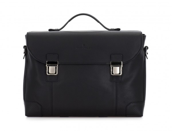 leather briefbag with flap in black front