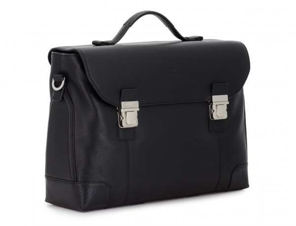 leather briefbag with flap in black side