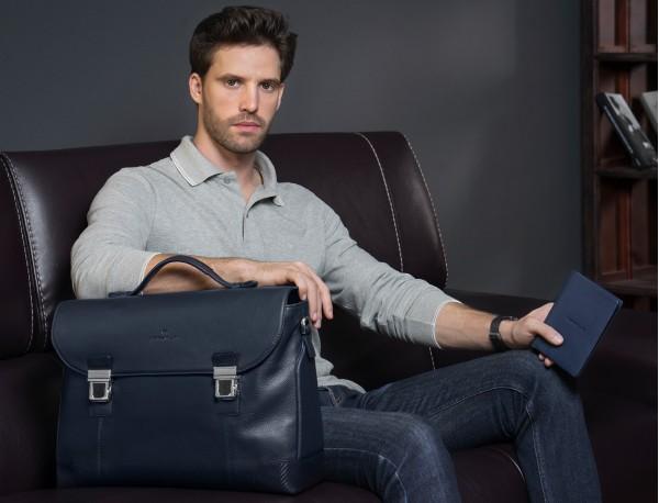 maletín de cuero con solapa negro lifestyle