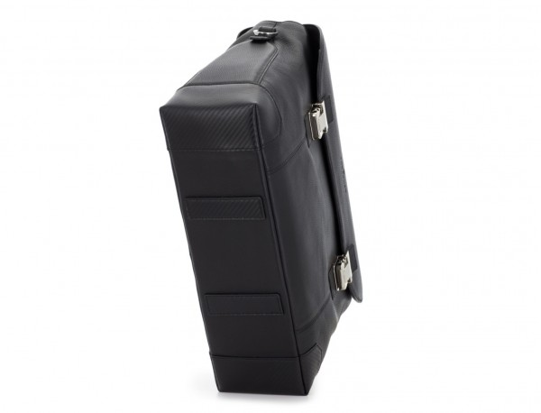maletín de cuero con solapa negro base