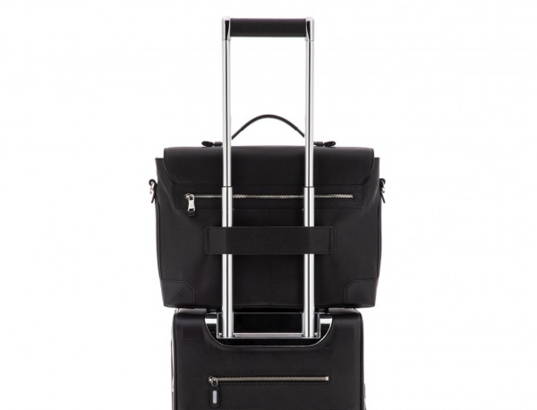 leather briefbag with flap in black trolley
