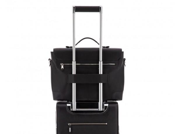 maletín de cuero con solapa negro trolley