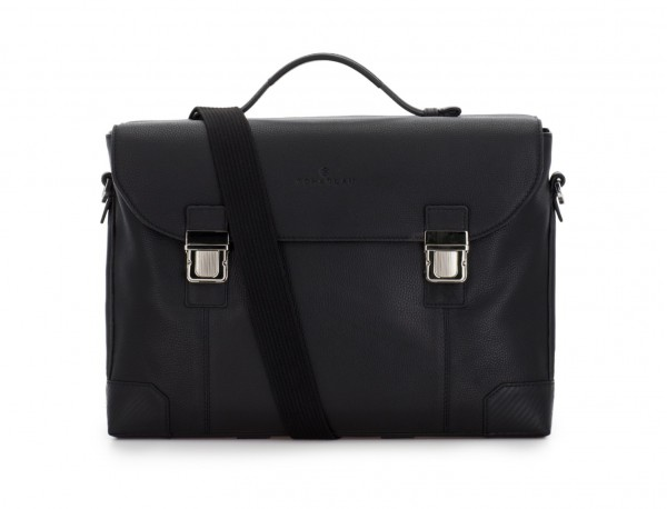 leather briefbag with flap in black strap
