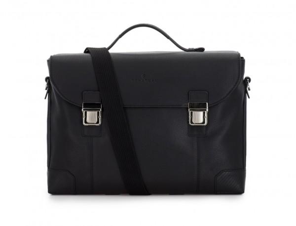 maletín de cuero con solapa negro bandolera