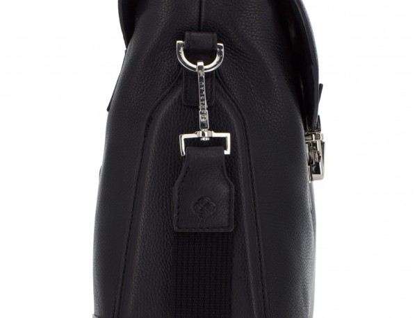 leather briefbag with flap in black detail
