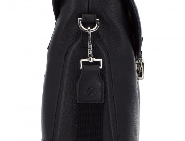 maletín de cuero con solapa negro lado
