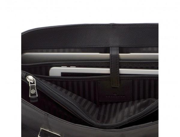 Cartella con patta 2 scomparti in pelle in nero laptop