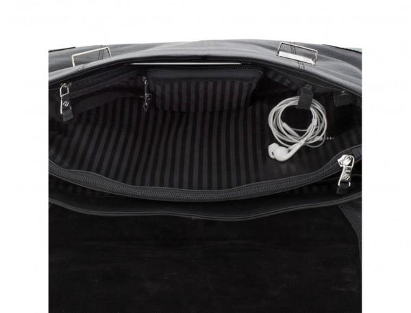 maletín de cuero con solapa negro interior